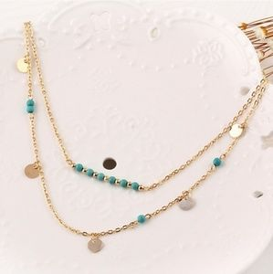 Two layer dainty turquoise and gold necklace